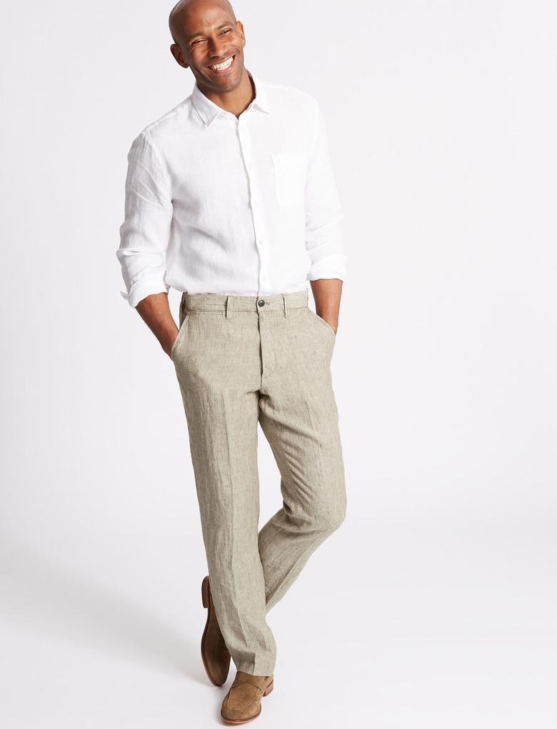 Saf Keten Pantolon
