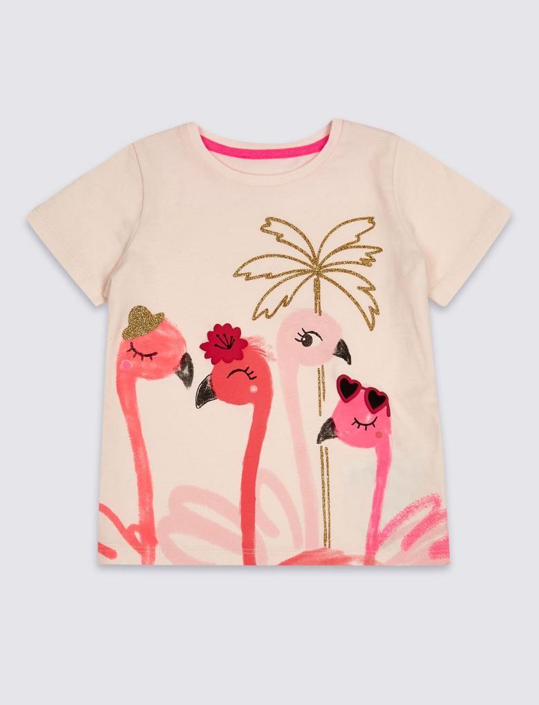 Pembe Saf Pamuklu Flamingo Üst