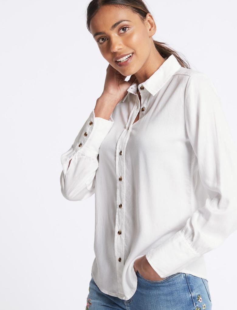 Beyaz Tencel™ Gömlek