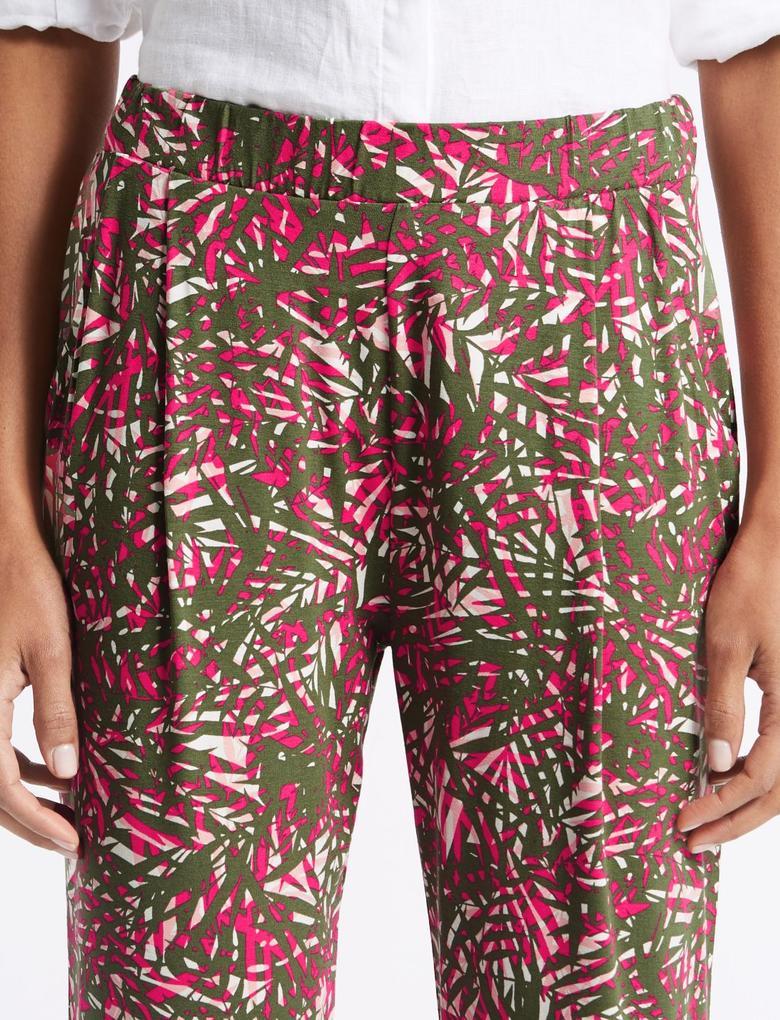 Pembe Desenli Orta Belli Tapered Leg Pantolon