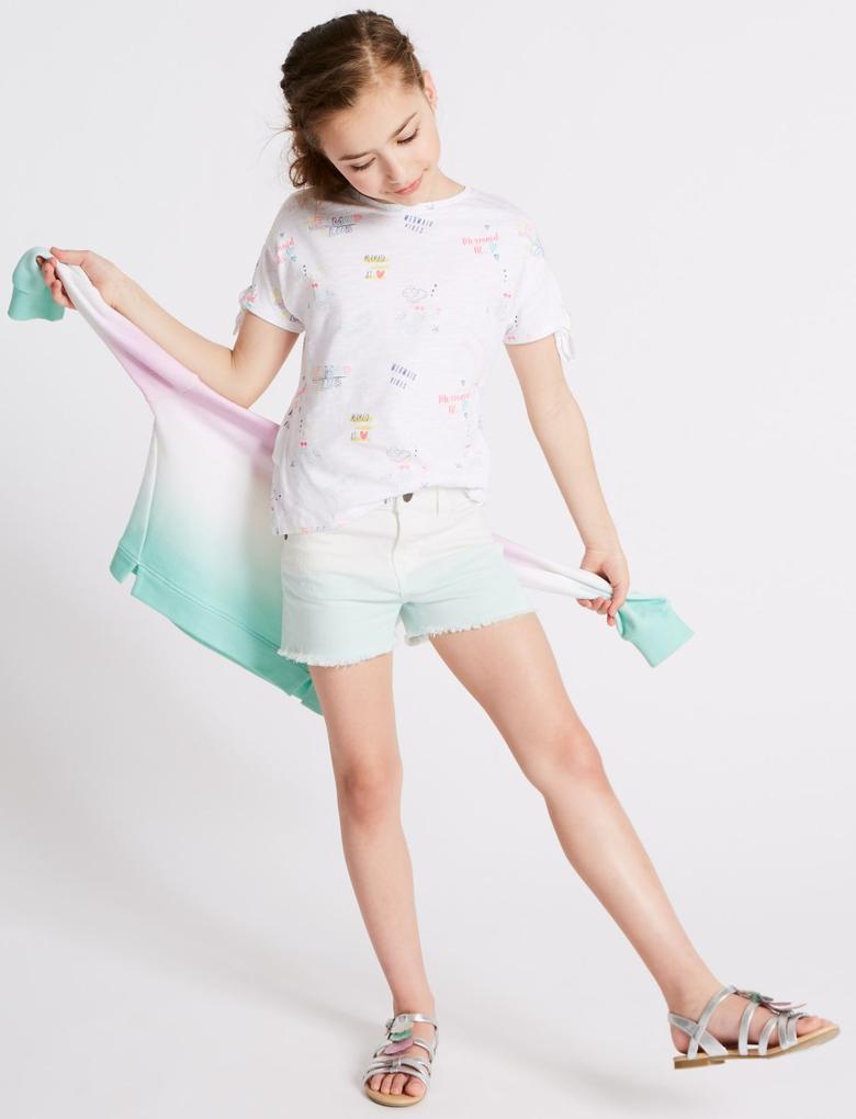 Kız Çocuk Mavi Pamuklu Streç Şort