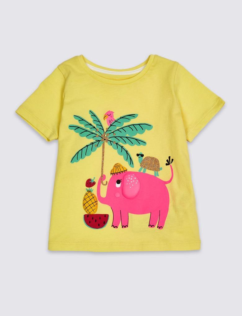 Sarı Saf Pamuklu T-Shirt
