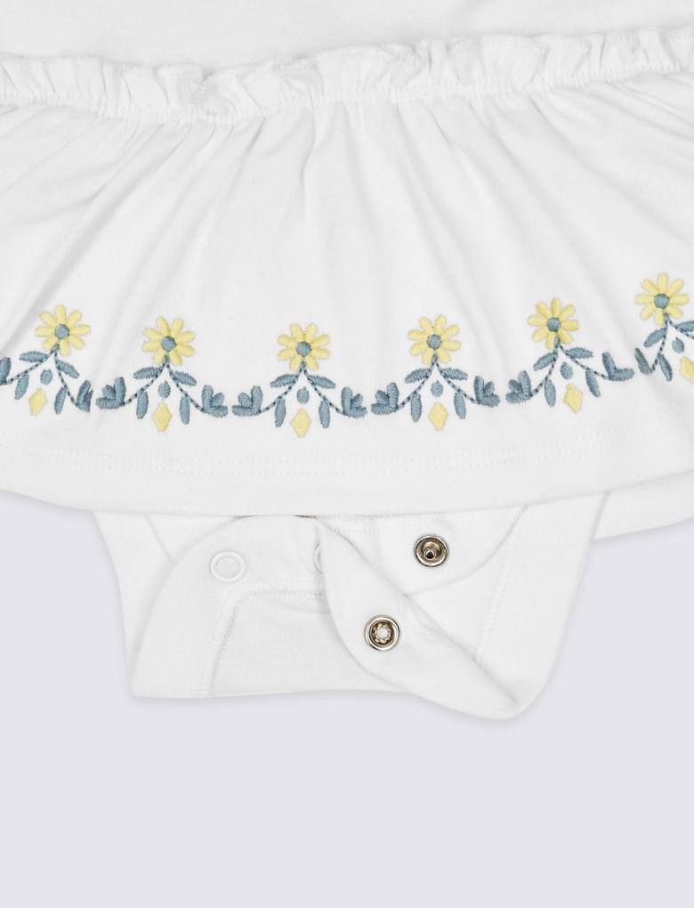 Saf Pamuklu İşlemeli Body Elbise