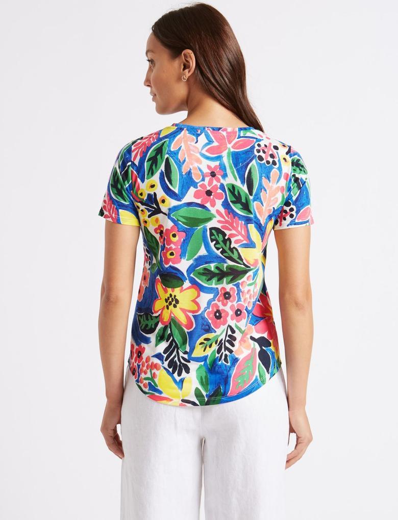 Mavi Çiçek Desenli Kısa Kollu T-Shirt
