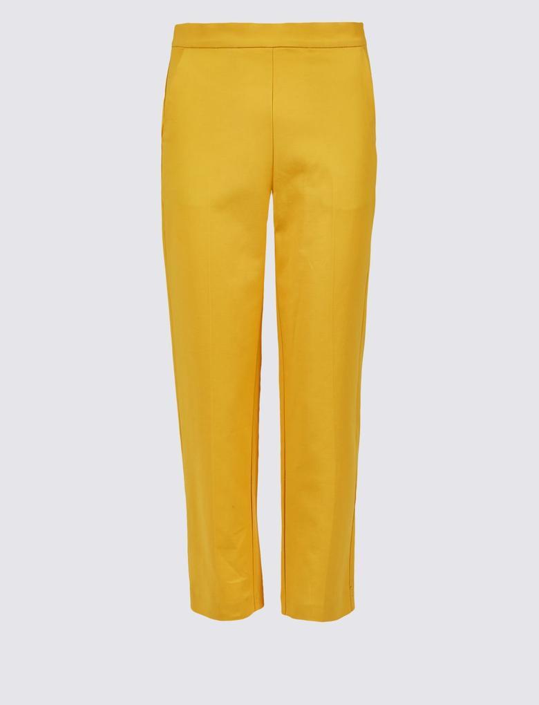 Kadın Turuncu Pamuklu Slim Leg Kısa Pantolon