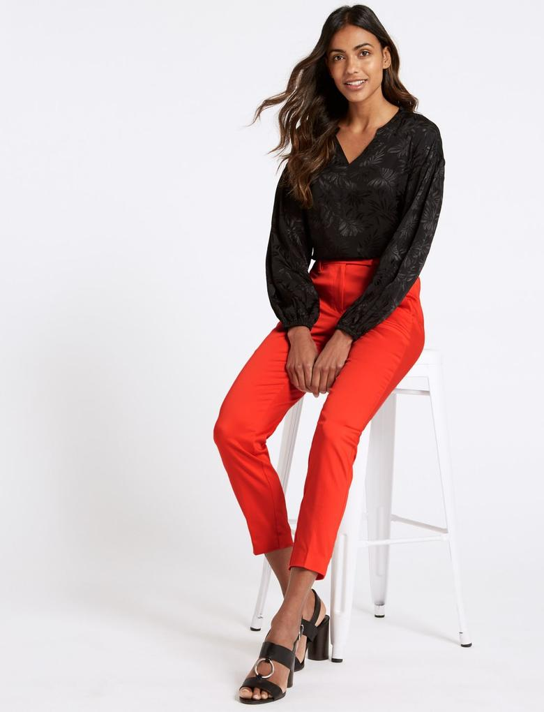 Kırmızı Pamuklu Slim Leg 7/8 Pantolon