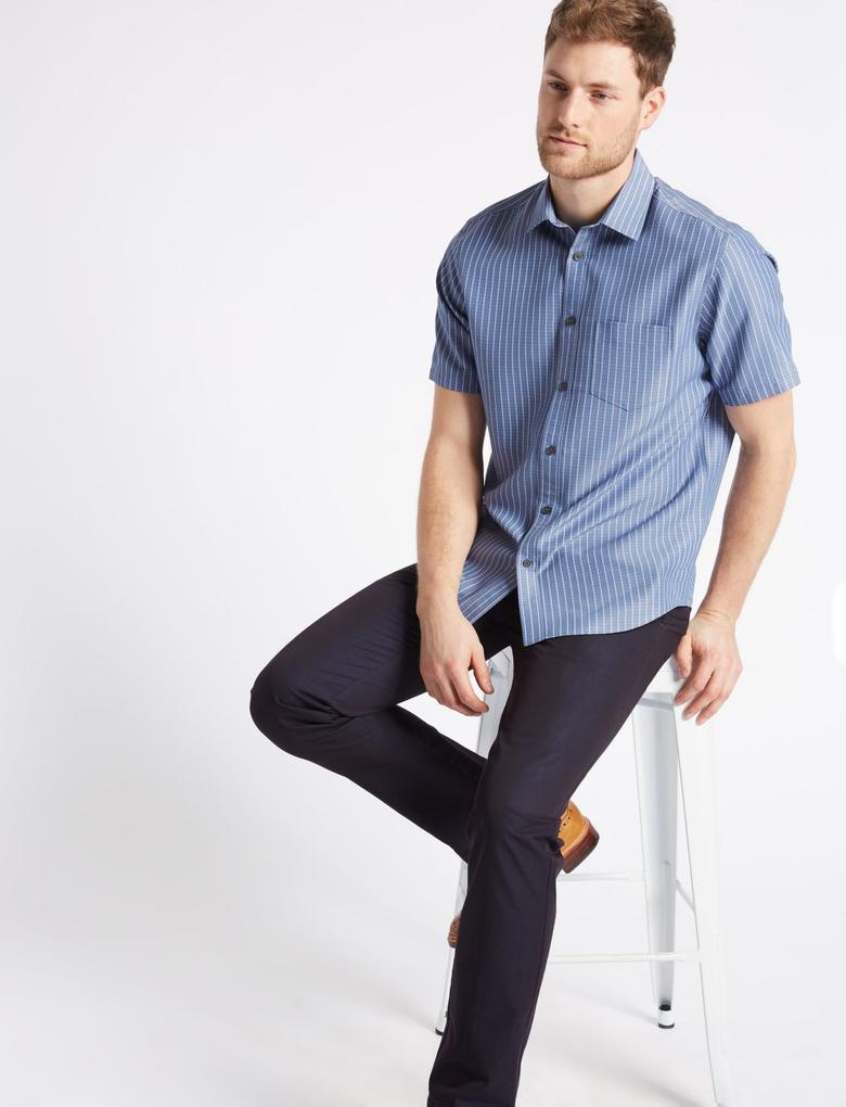 Modal Karışımlı Çizgili Gömlek