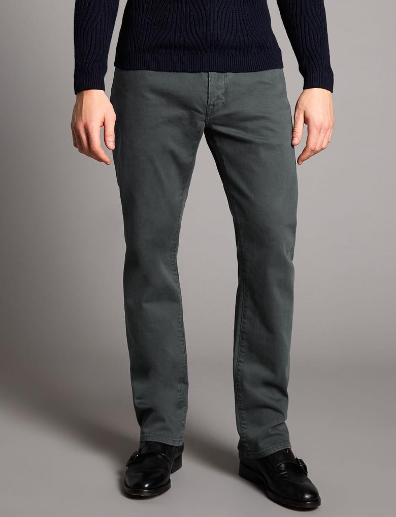 Gri Straight Fit Streçli Jean Pantolon