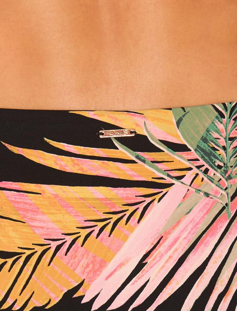 Siyah Desenli High Leg Bikini Altı