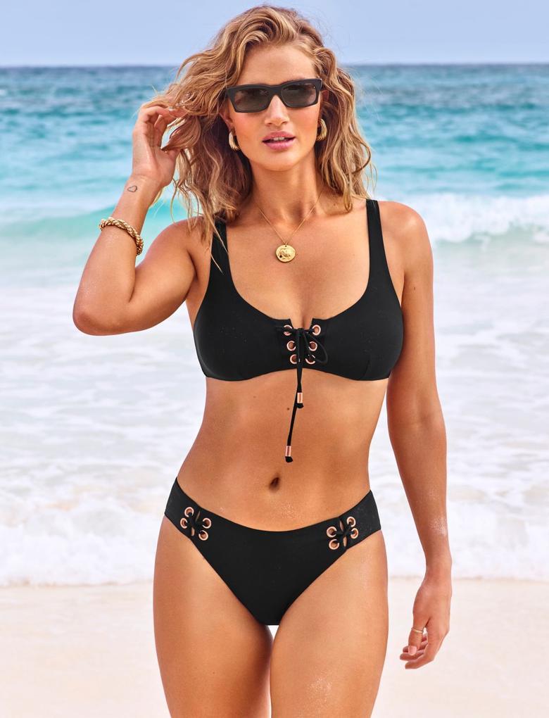 Kadın Siyah Hipster Bikini Altı