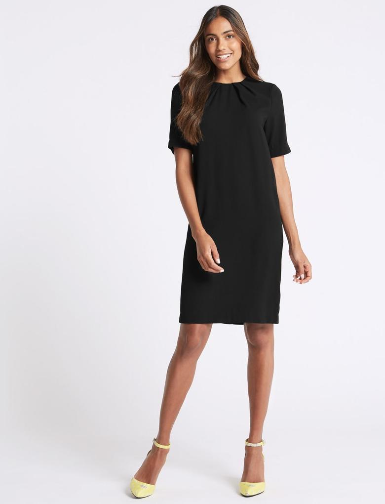 Siyah Pileli Kısa Kollu Tunik Elbise