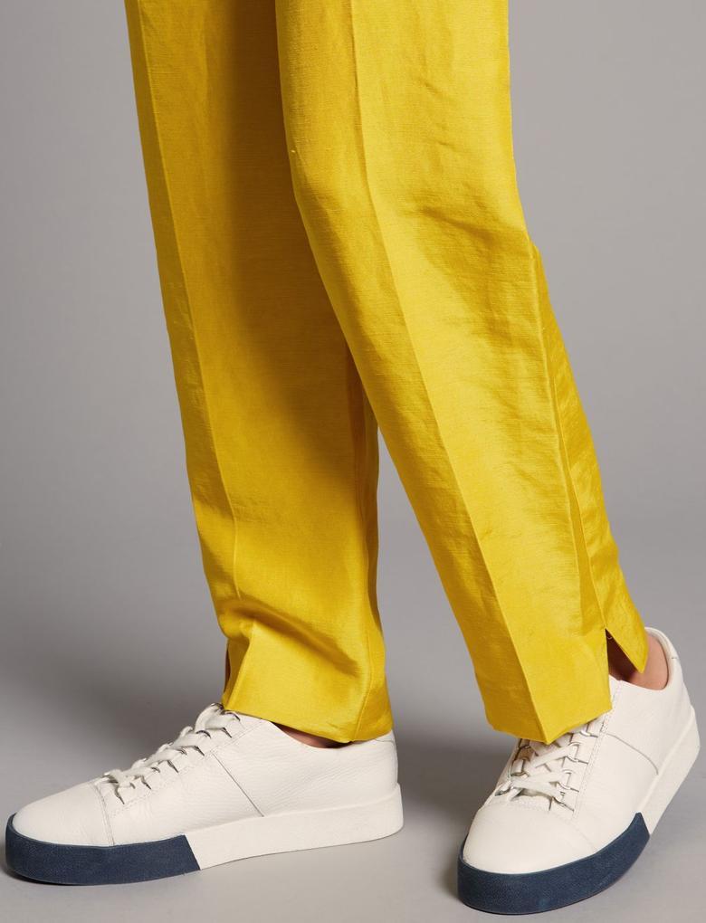 Straight Leg Keten Pantolon