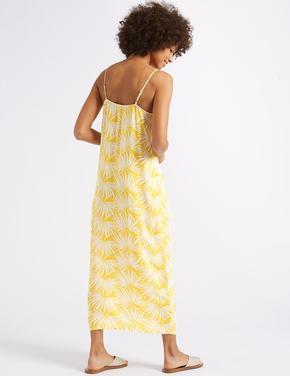 Sarı Desenli Midi Elbise