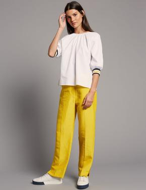 Sarı Straight Leg Keten Pantolon