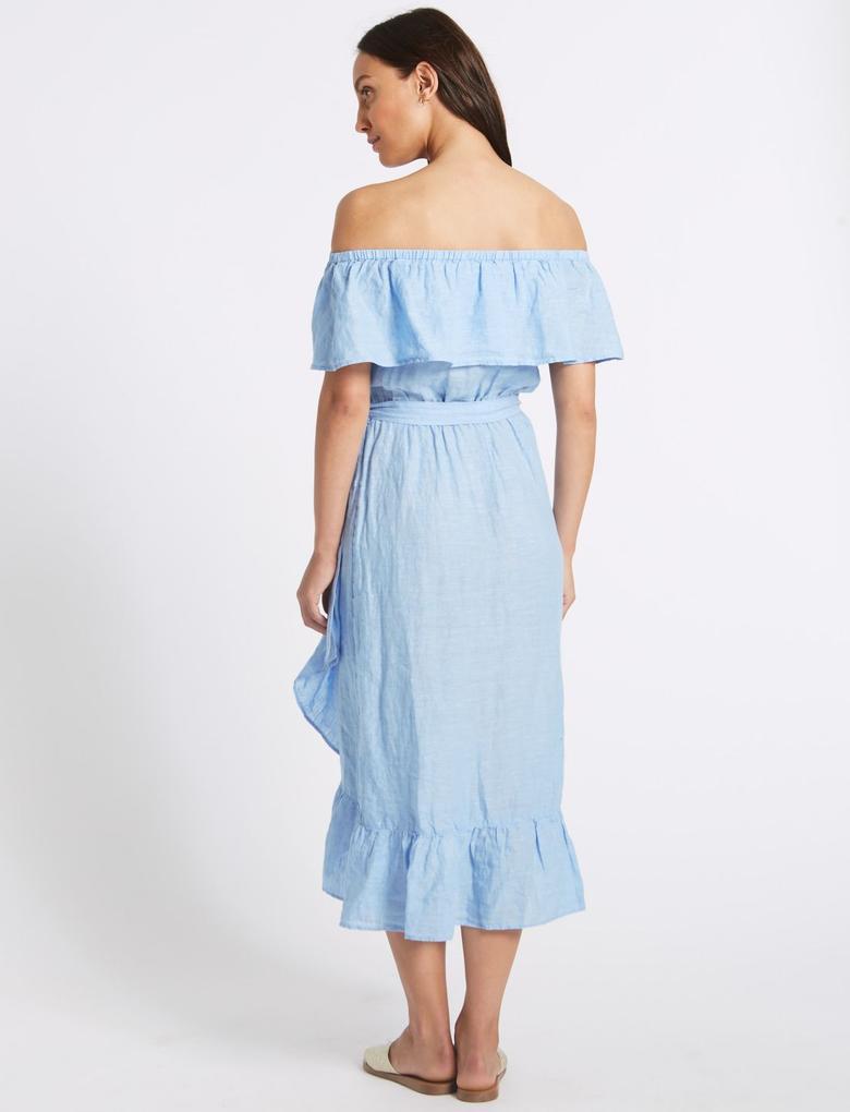 Saf Keten Yarım Kollu Midi Elbise