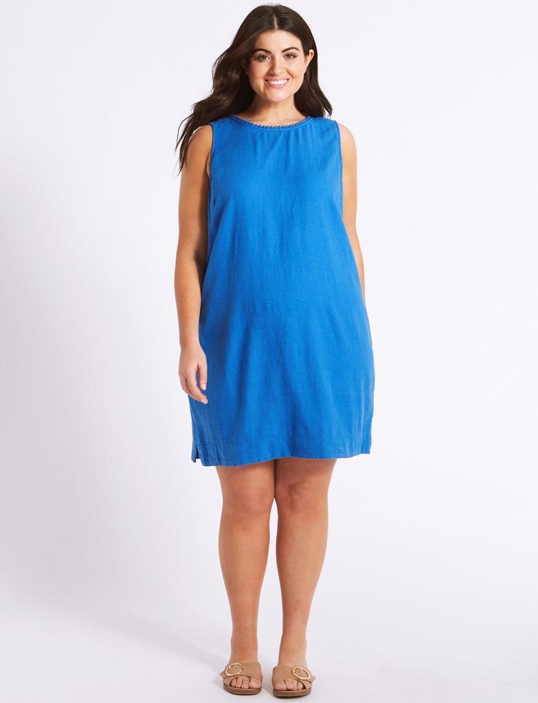 Lacivert Keten Karışımlı Elbise