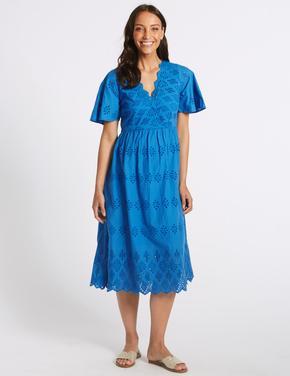Saf Pamuklu İşlemeli Midi Elbise