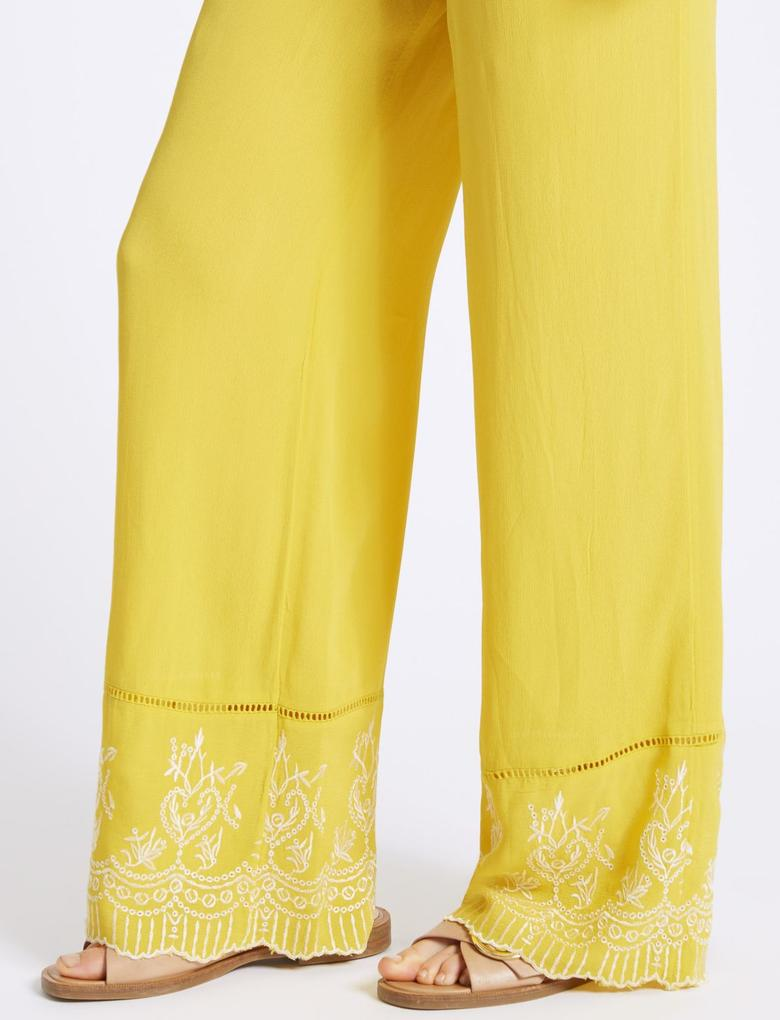 İşlemeli Wide Leg Pantolon