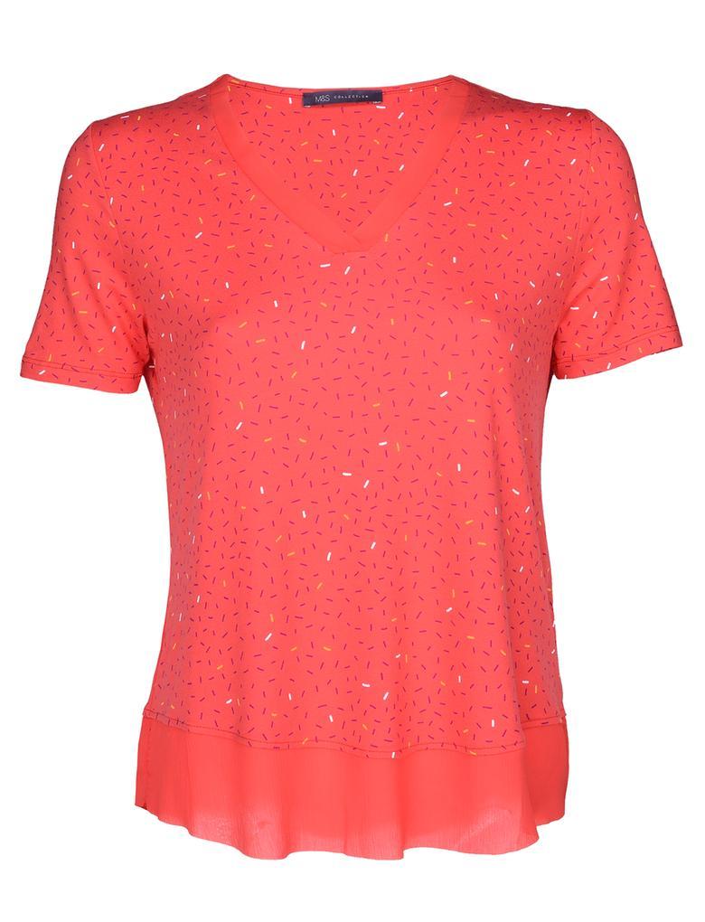 Kısa Kollu V Yaka  T-Shirt