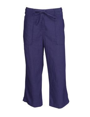 Lacivert Keten Wide Leg Pantolon
