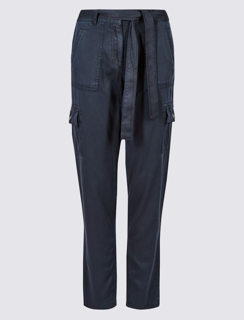 Lacivert Saf Modal Kargo Pantolon