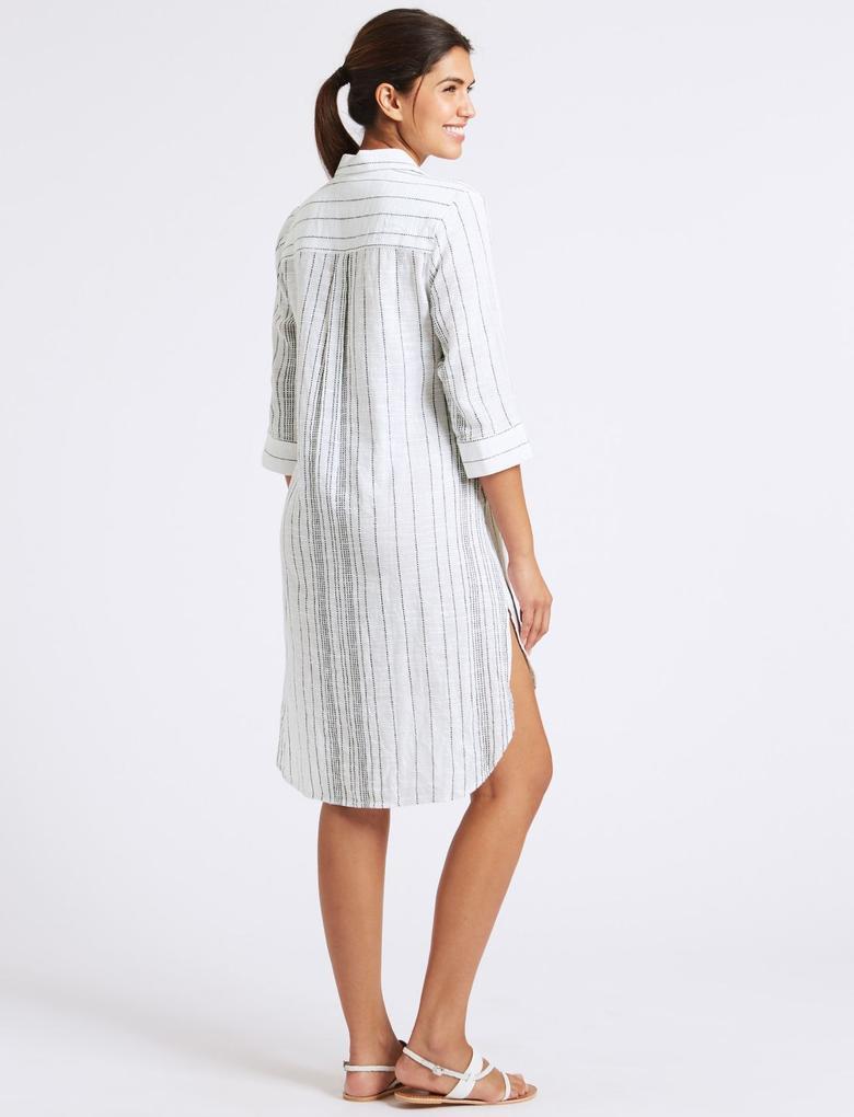 Beyaz Saf Pamuklu Çizgili Elbise