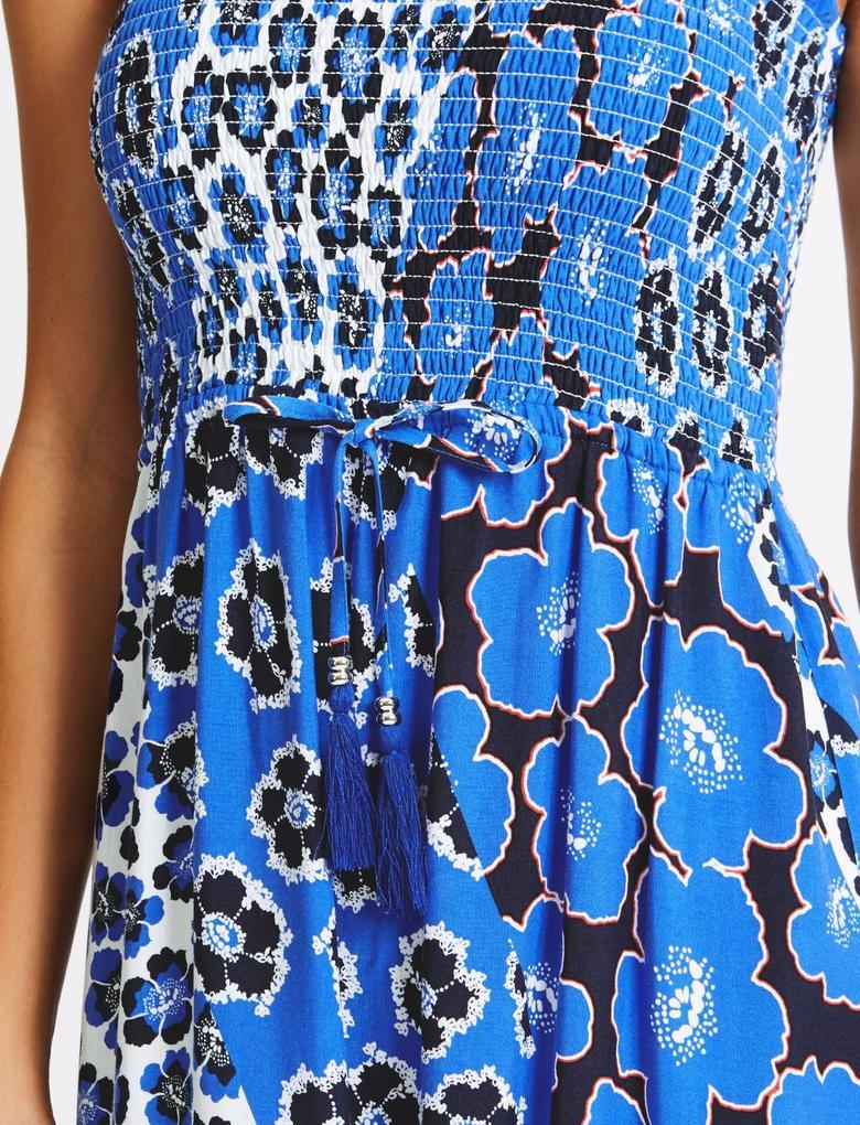 Mavi Çiçekli Askılı Plaj Elbisesi