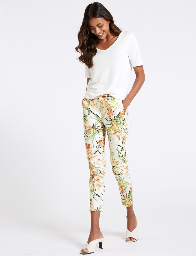 Pamuklu Çiçek Desenli Slim Leg Pantolon
