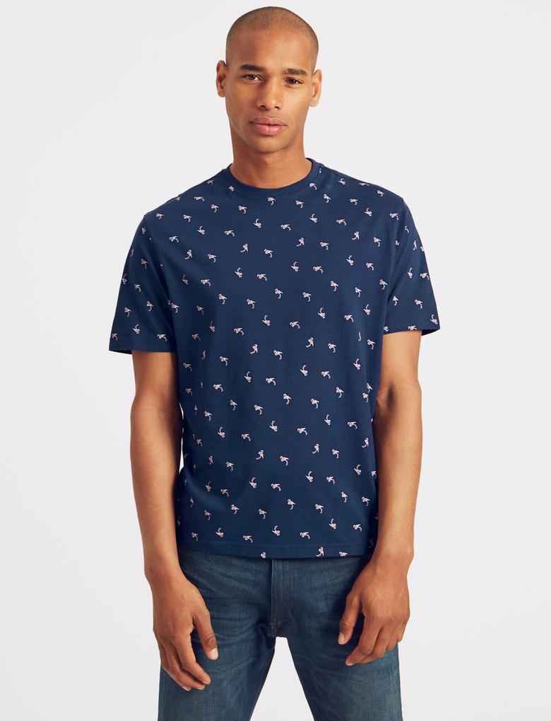 Lacivert Slim Fit Saf Pamuklu Desenli T-Shirt