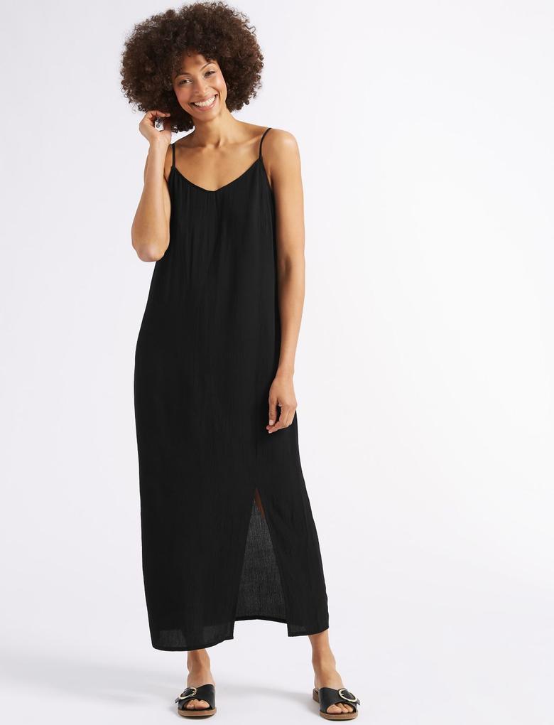 Siyah Önden Yırtmaçlı Midi Elbise
