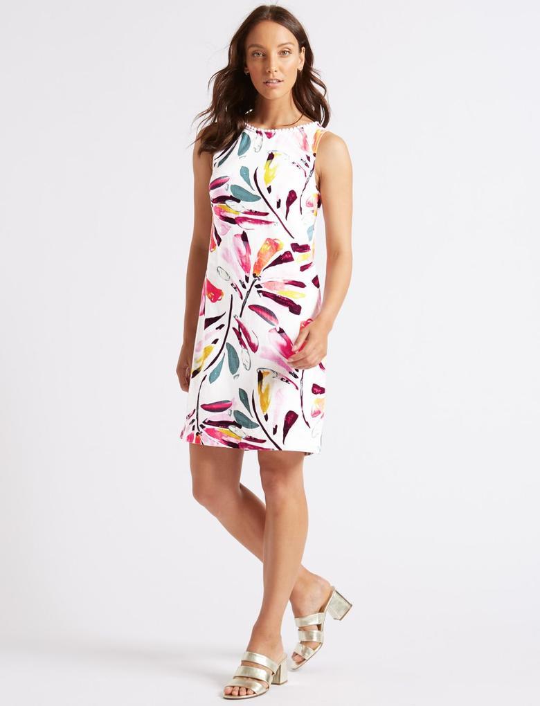 Bej Keten Karışımlı Desenlİ Elbise