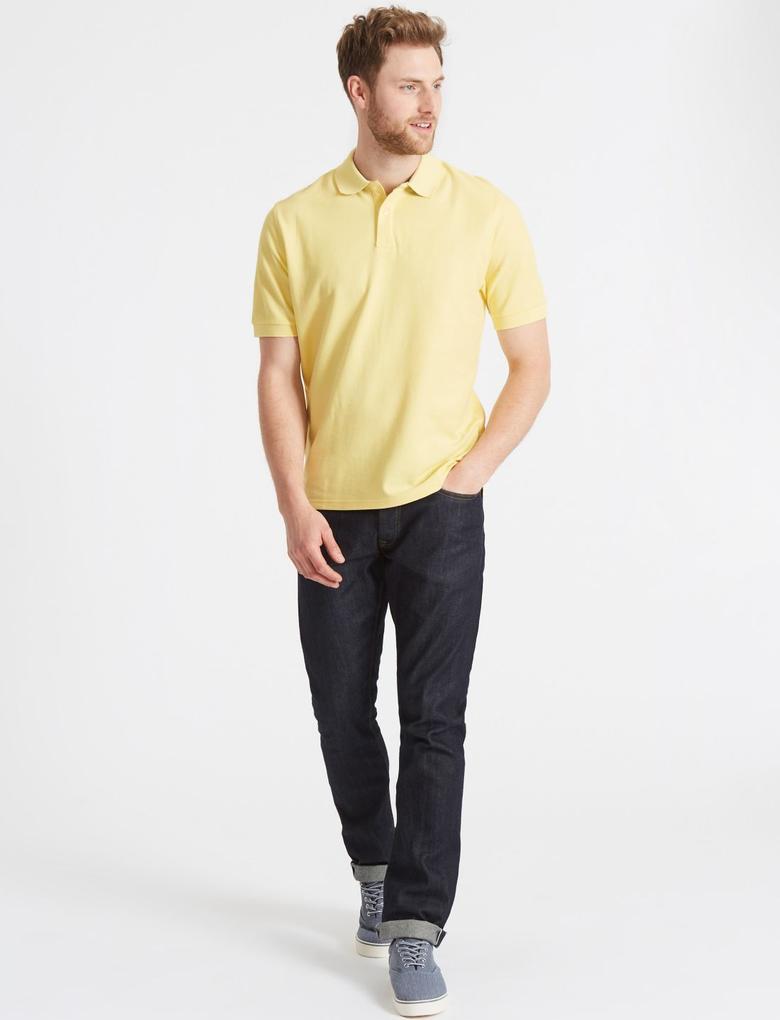Sarı Saf Pamuklu Polo Yaka T-Shirt
