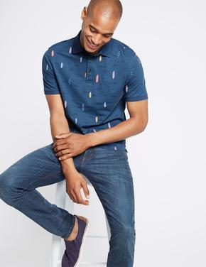 Slim Fit Saf Pamuklu Desenli Polo Yaka T-Shirt