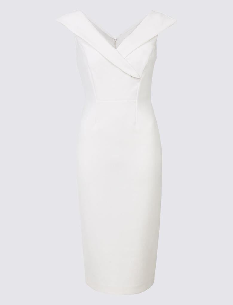 Beyaz Kısa Kollu Elbise