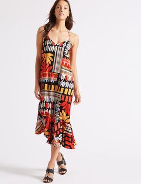 Desenli Asimetrik Kesim Midi Elbise