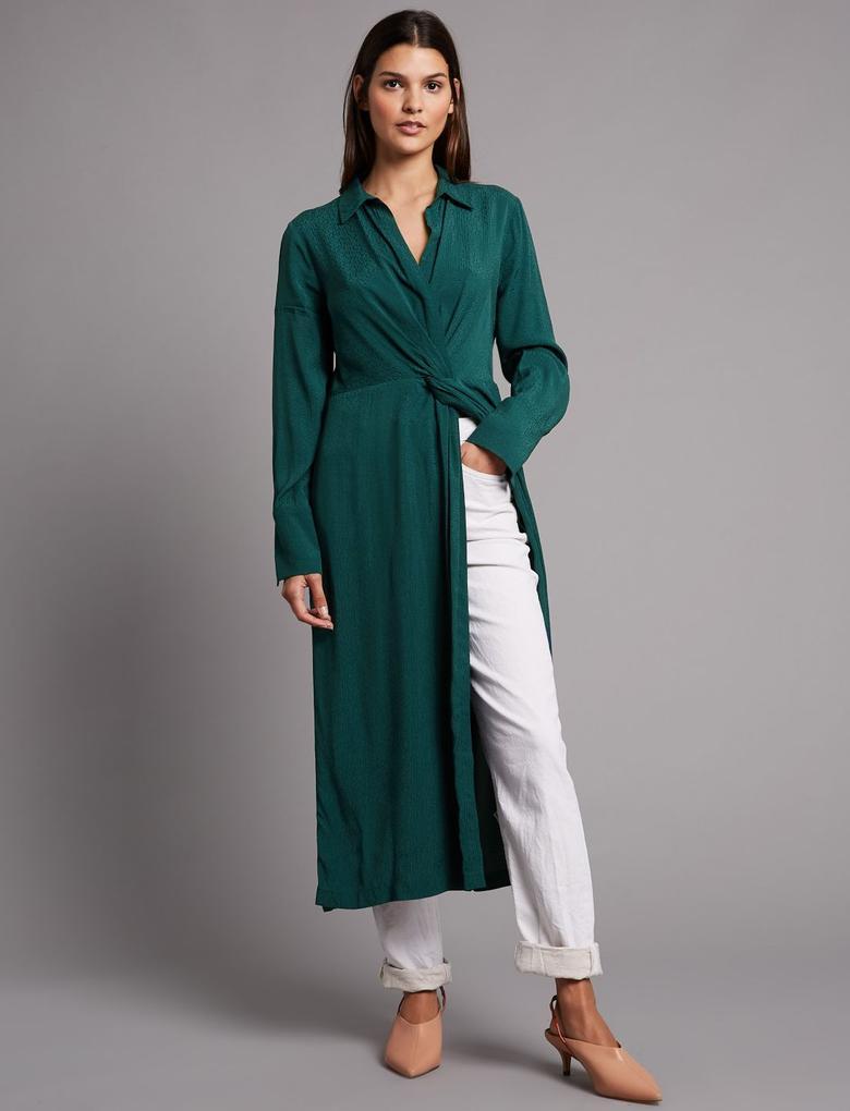 Kadın Yeşil Desenli Gömlek Elbise
