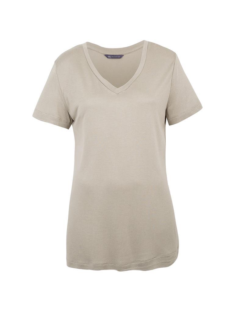 Yeşil V Yaka Kısa Kollu T-Shirt