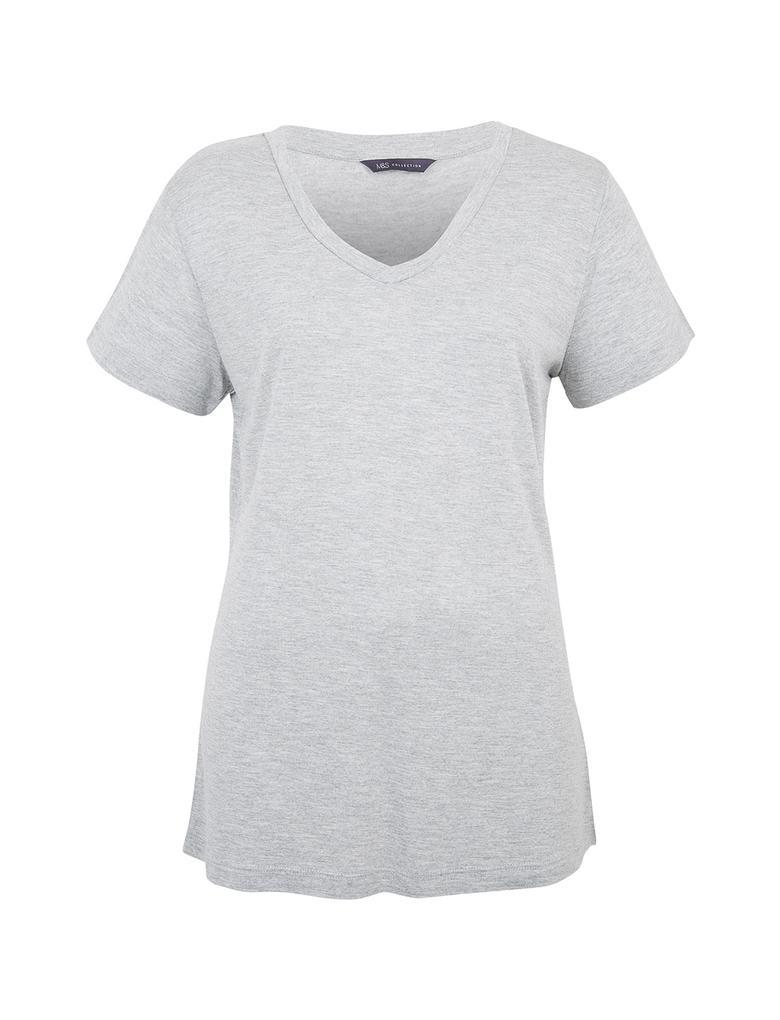 Kadın Gri V Yaka Kısa Kollu T-Shirt