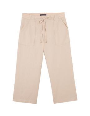 Bej Wide Leg Kısa Pantolon