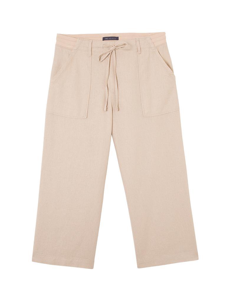 Kadın Bej Wide Leg Kısa Pantolon