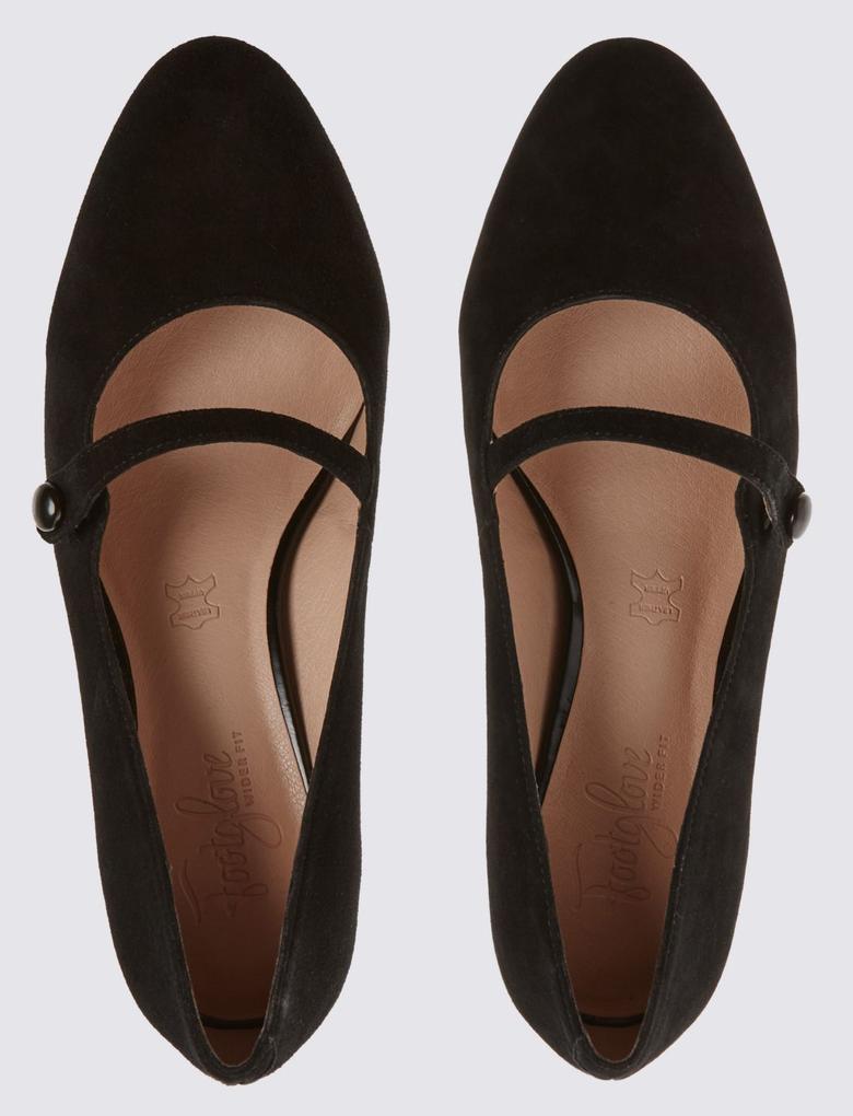 Kadın Siyah Geniş Kalıplı Topuklu Süet Ayakkabı