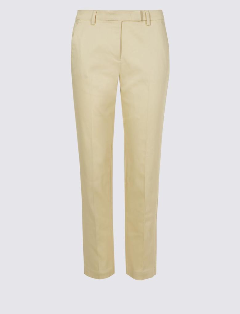Sarı Pamuklu Slim Leg 7/8 Pantolon