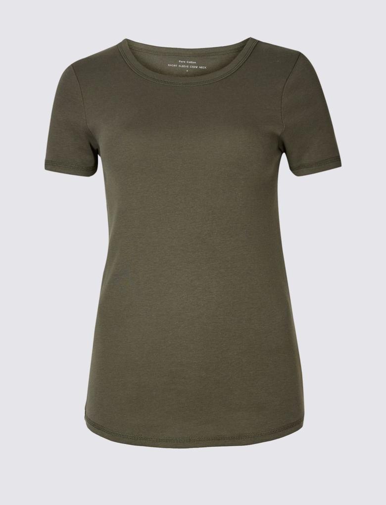 Yeşil Saf Pamuklu Yuvarlak Yaka Kısa Kollu T-Shirt