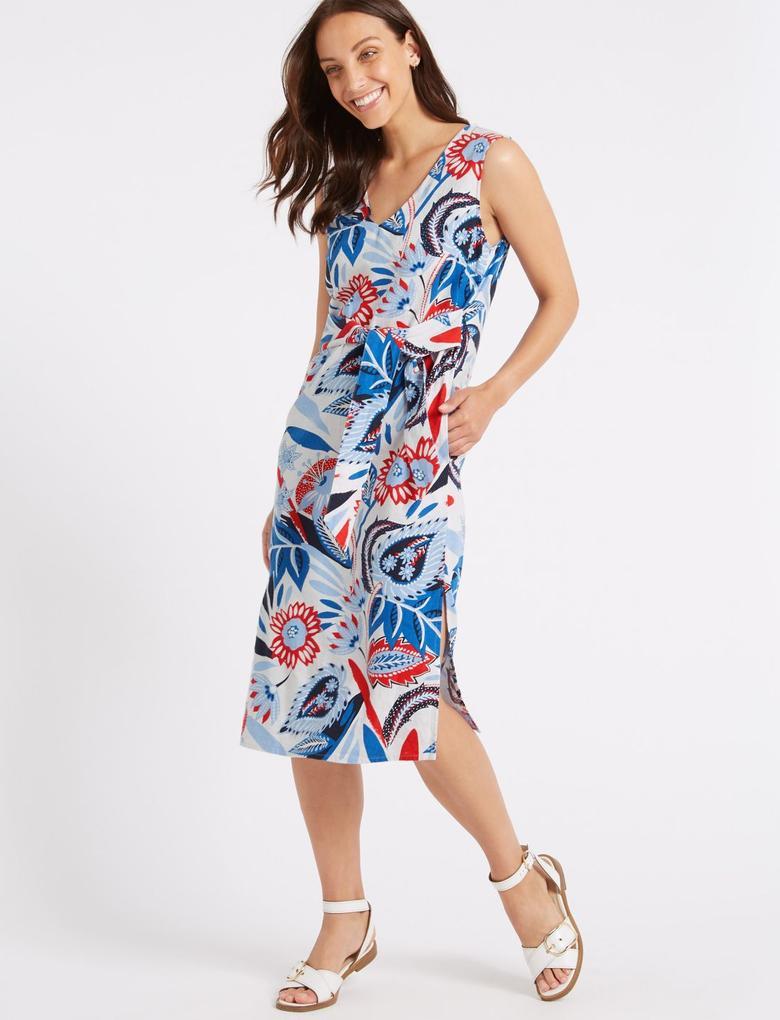 Desenli Keten Midi Elbise