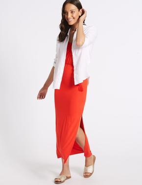 Kırmızı Kolsuz Maxi Elbise
