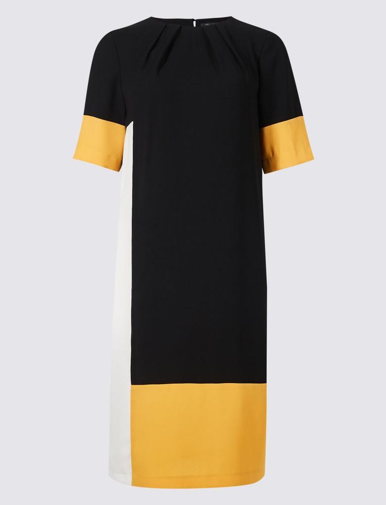 Multi Renk Kısa Kollu Çizgili Elbise