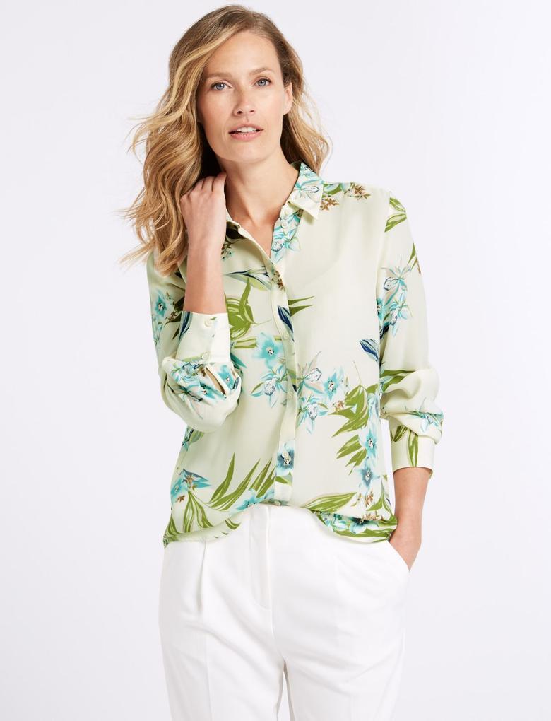 Çiçekli Uzun Kollu Gömlek