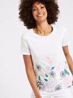 Saf Pamuklu Çiçekli T-Shirt