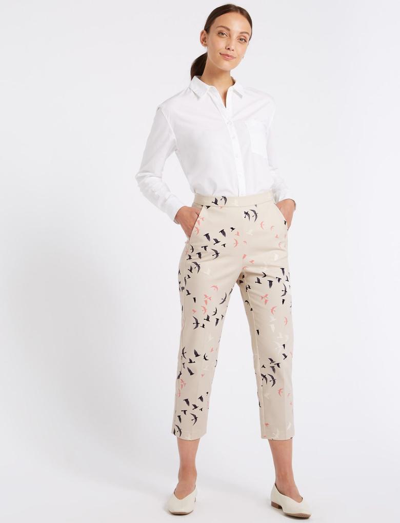 Pamuklu Slim Leg Kısa Paça Pantolon
