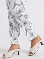 Kadın Siyah Çiçek Desenli Tapered Leg Pantolon